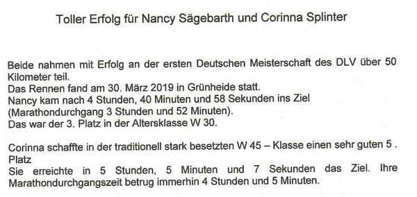 2019 04 01 Deutsche Meisterschaft DLV in Grünheide Bereich Laufen und Walken