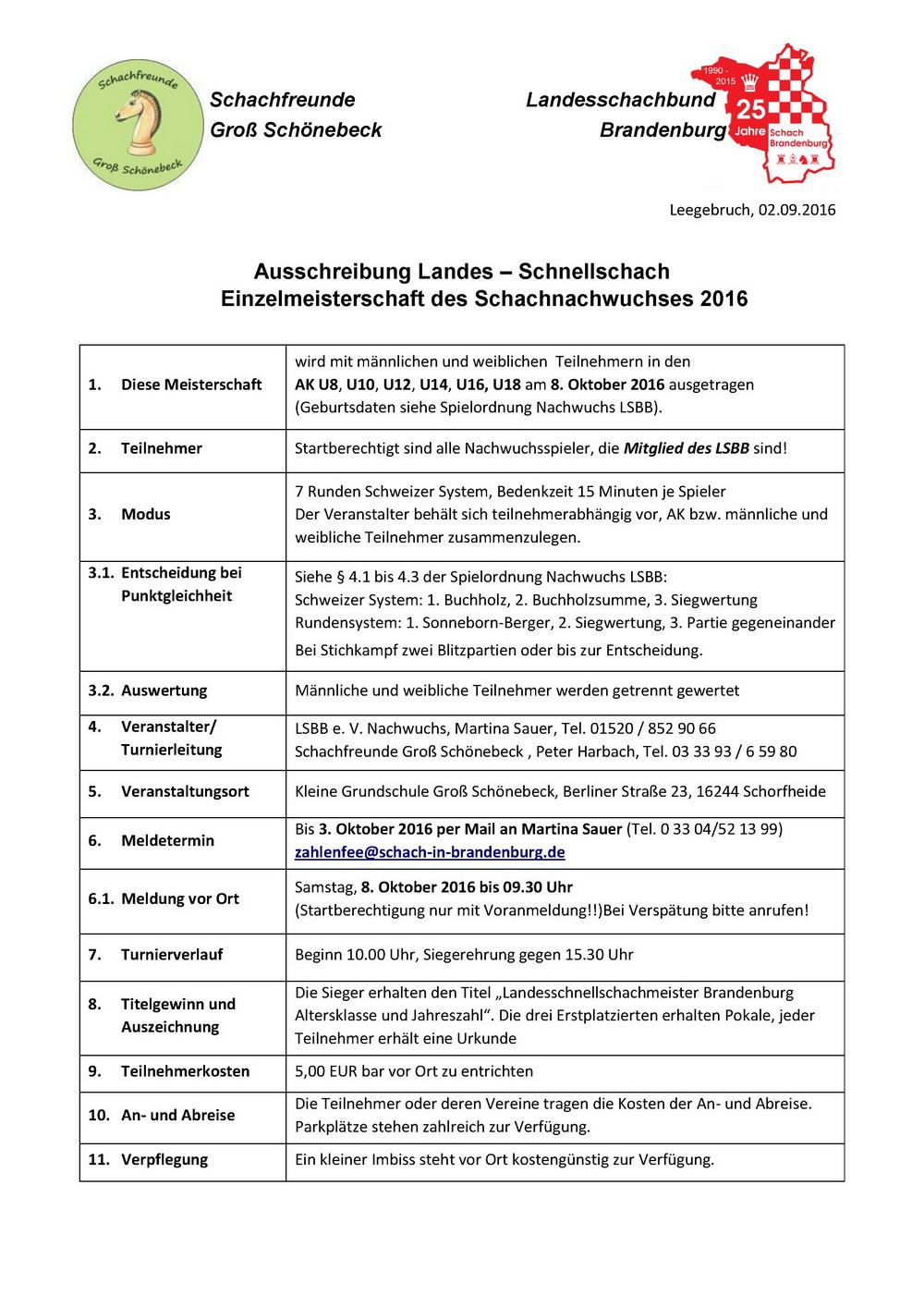 2016 LEM Schnellschach Ausschreibung