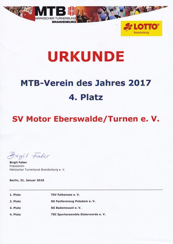 2 Urkunde MTB Verein des Jahres 2017