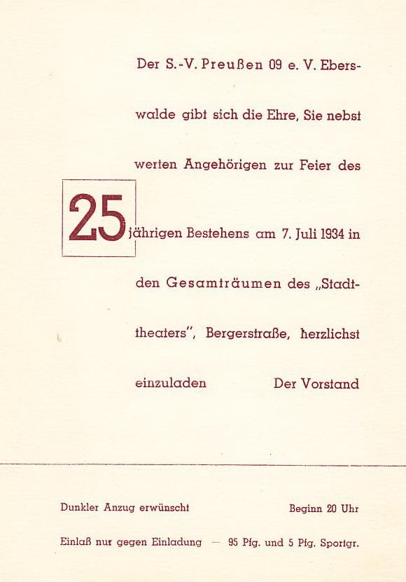 Einladungskarte 1934 Seite 1